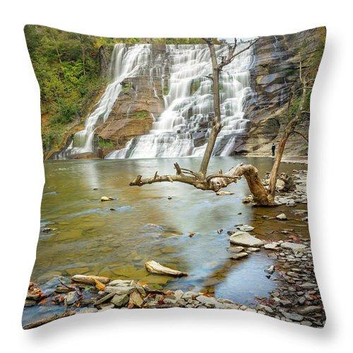 New York Throw Pillow featuring the photograph Blue Skies Over Ithaca Falls by Karen Jorstad