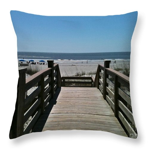 Beach Throw Pillow featuring the photograph Blue Sky And Beautiful Beach by Carol Bradley