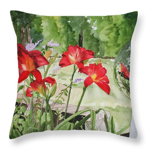Flowers Throw Pillow featuring the painting Blue Sky Reflections by Jean Blackmer