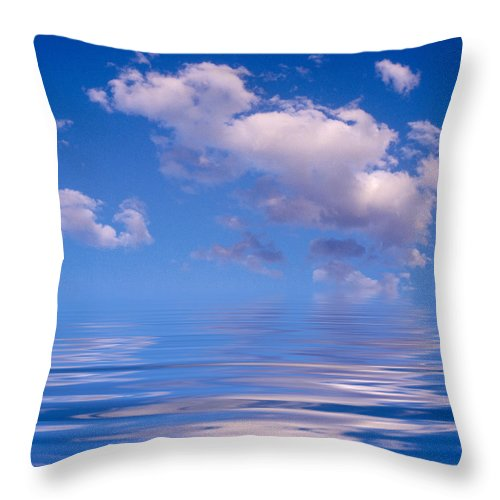 Original Art Throw Pillow featuring the photograph Blue Sky Reflections by Jerry McElroy