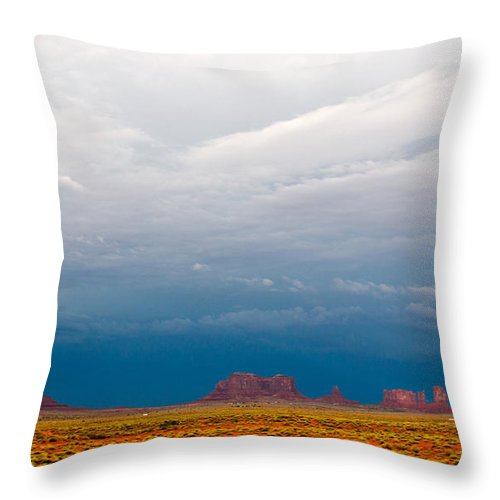 Monument Valley Throw Pillow featuring the photograph Blue Sky by Robert Popa