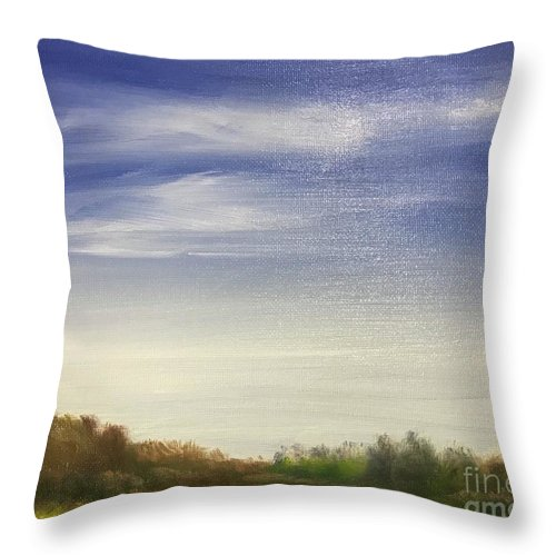 Landscape Throw Pillow featuring the painting Blue Sky by Sheila Mashaw