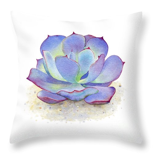 Watercolor Throw Pillow featuring the painting Blue Sky Succulent by Laura Nikiel