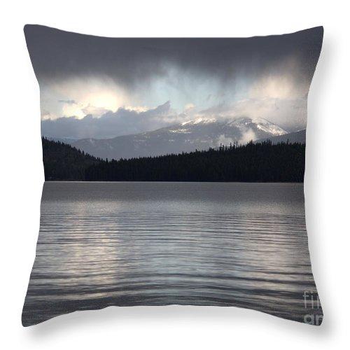 Clouds Throw Pillow featuring the photograph Blue Sky Through Dark Clouds by Carol Groenen