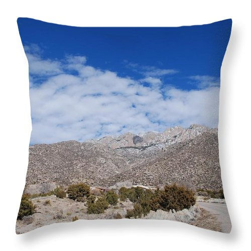 Sandia Mountains Throw Pillow featuring the photograph Blue Skys Over The Sandias by Rob Hans