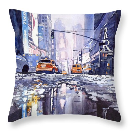Blue Throw Pillow featuring the painting Blue Skyscrapers by Suzann Sines