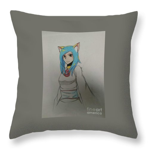 Neko Throw Pillow featuring the drawing Blue Snazzy by Lauren Champion
