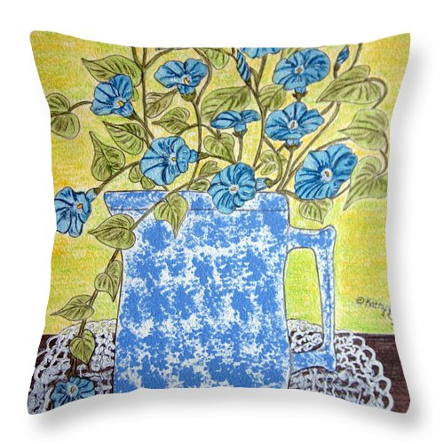 Blue Throw Pillow featuring the painting Blue Spongeware Pitcher Morning Glories by Kathy Marrs Chandler