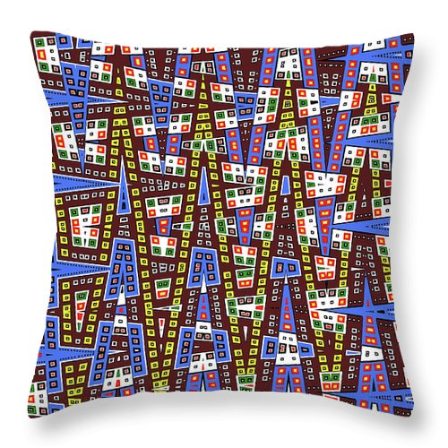 Blue Squares With Dots Throw Pillow featuring the digital art Blue Squares With Dots by Tom Janca