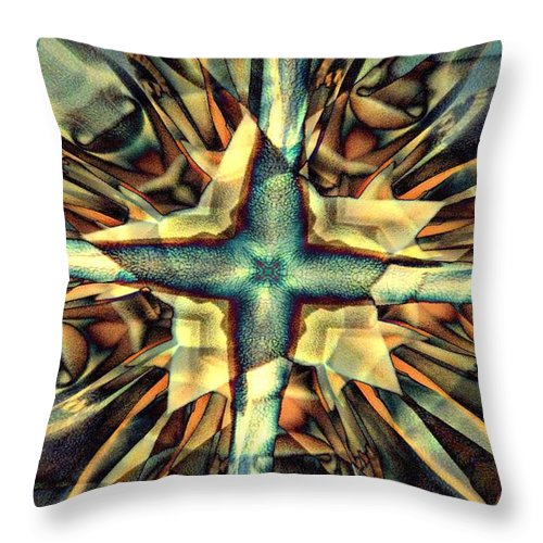 Abstract Throw Pillow featuring the digital art Blue Star by Ron Bissett