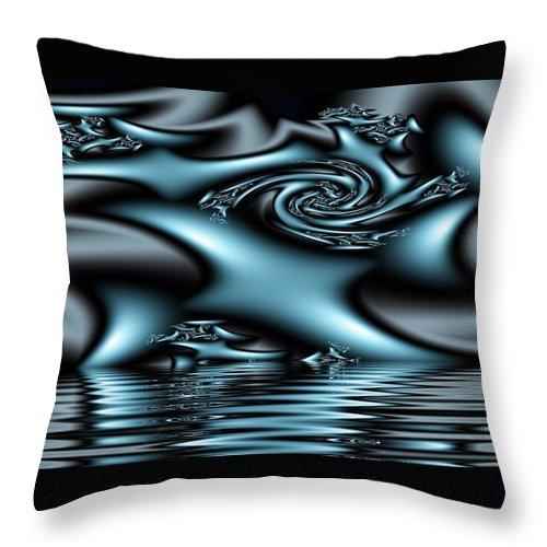 Fractals Blue Lake Sun River Water Throw Pillow featuring the digital art Blue Sun by Veronica Jackson