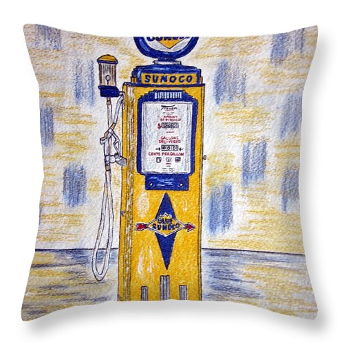 Blue Sunoco Throw Pillow featuring the painting Blue Sunoco Gas Pump by Kathy Marrs Chandler