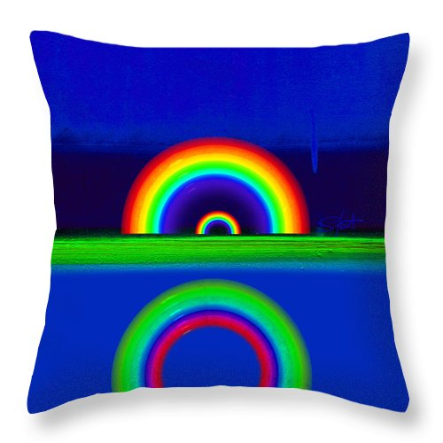 Rainbow Throw Pillow featuring the painting Blue Sunset by Charles Stuart