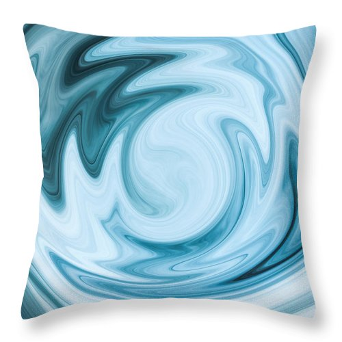 Blue Throw Pillow featuring the digital art Blue Swirl by Nielda Sanford