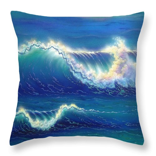 Seascape Throw Pillow featuring the painting Blue Thunder by Angie Hamlin