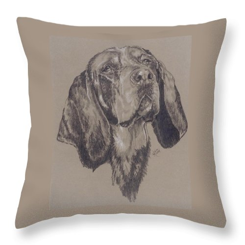 Purebred Throw Pillow featuring the drawing Blue Tick Coonhound by Barbara Keith