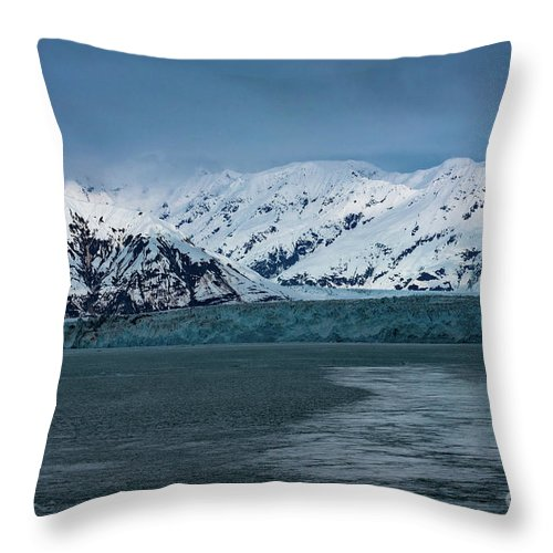 Glacier Throw Pillow featuring the photograph Blue Tidewater Glacier by Joe Benning
