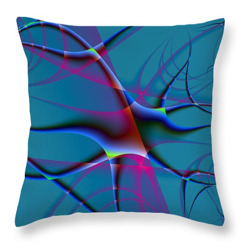 Fractal Throw Pillow featuring the digital art Blue Tilde by Frederic Durville