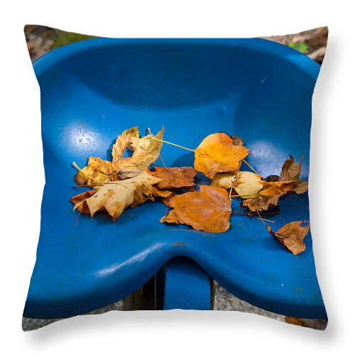 Cumberland Throw Pillow featuring the photograph Blue Tractor Seat by Douglas Barnett