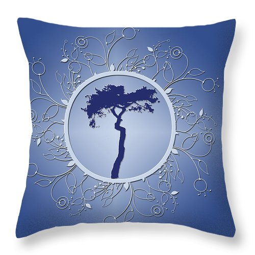 Tree Throw Pillow featuring the photograph Blue Tree Of Life by JoAnn Grafton
