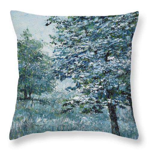 Tree Throw Pillow featuring the painting Blue Trees by Paul Illian