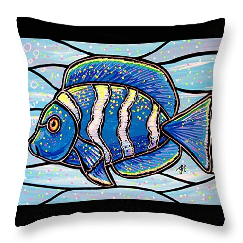 Fish Throw Pillow featuring the painting Blue Tropical Fish by Jim Harris