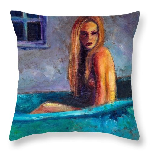 Nude Throw Pillow featuring the painting Blue Tub Study by Jason Reinhardt