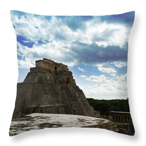 Ruin Throw Pillow featuring the photograph Blue Uxmal by Jose Manuel Diaz Perez