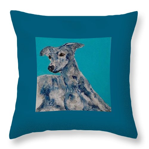 Dog Throw Pillow featuring the painting Blue Vespa by Mary Papageorgiou