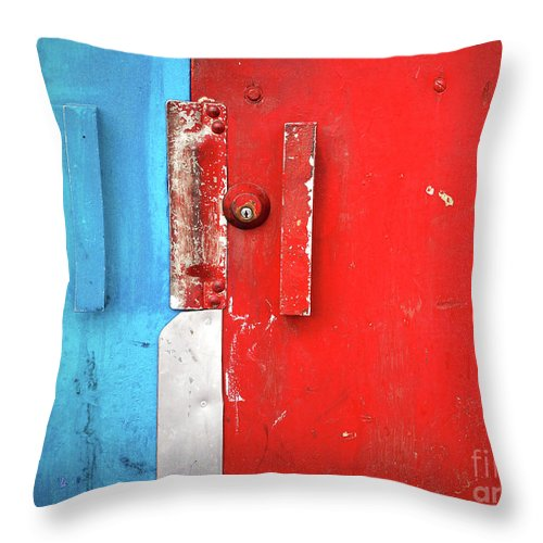 Urban Throw Pillow featuring the photograph Blue Wall Red Door by Tara Turner