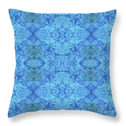 Blue Throw Pillow featuring the painting Blue Water Batik Tiled by Sue Duda