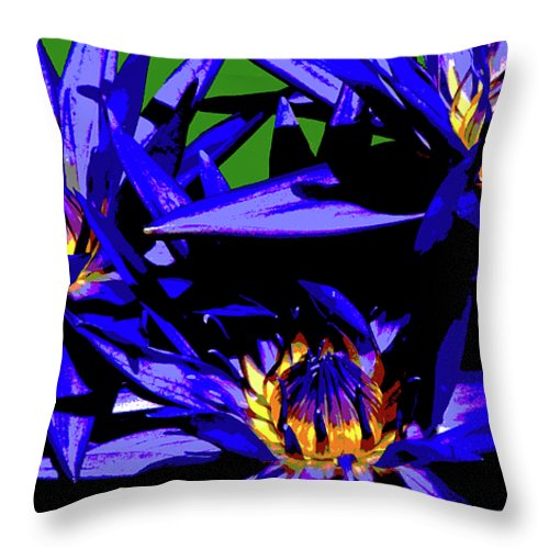 Water Lily Throw Pillow featuring the photograph Blue Water Lily Iv by Cathi Abbiss Crane