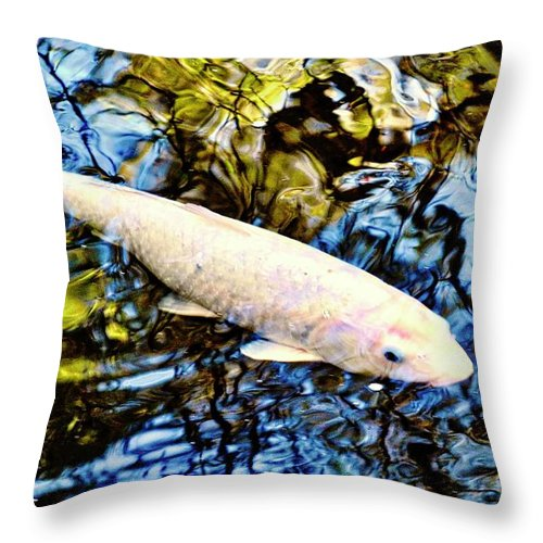 Koi Throw Pillow featuring the photograph Blue Water White Koi by Kirsten Giving
