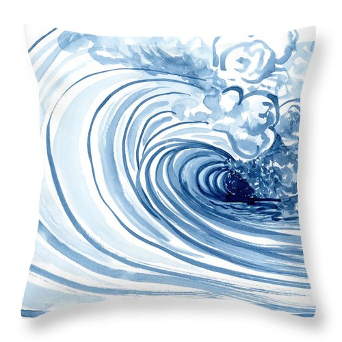 Blue Wave Modern Loose Curling Wave Throw Pillow