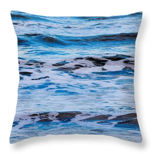 Waves Throw Pillow featuring the photograph Blue Waves by Modern Art