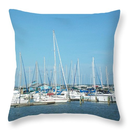 Marina Throw Pillow featuring the photograph Blue White And Blue by Laurette Escobar