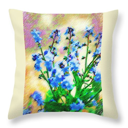 Blue Throw Pillow featuring the photograph Blue Wildflowers by Donna Bentley