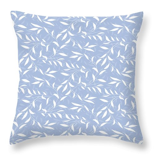 Blue Throw Pillow featuring the digital art Blue Willow Elegance by Antique Images