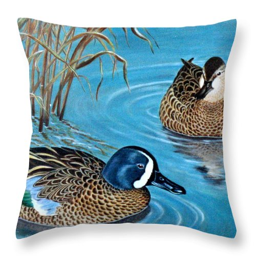 Ducks Throw Pillow featuring the painting Blue-winged Teals by Elaine Booth-Kallweit
