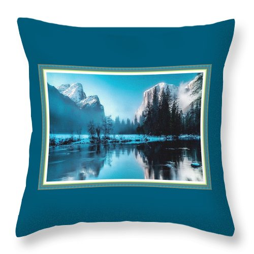 Rural Throw Pillow featuring the painting Blue Winter Fantasy. L B With Decorative Ornate Printed Frame. by Gert J Rheeders