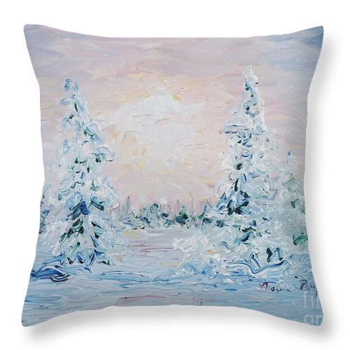Landscape Throw Pillow featuring the painting Blue Winter by Nadine Rippelmeyer