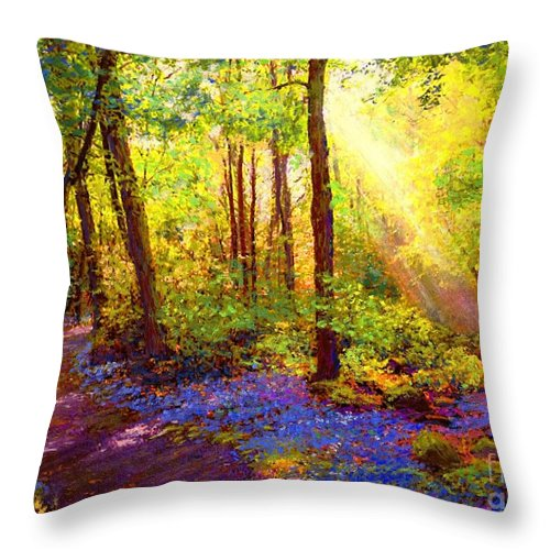 Sun Throw Pillow featuring the painting Bluebell Blessing by Jane Small