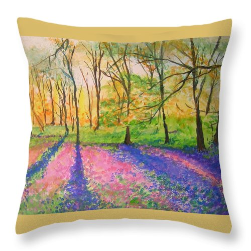 Landscape Throw Pillow featuring the painting Bluebell Wood by Lizzy Forrester