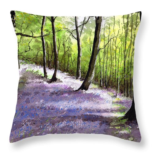 Bluebell Throw Pillow featuring the painting Bluebell Wood by Paul Dene Marlor