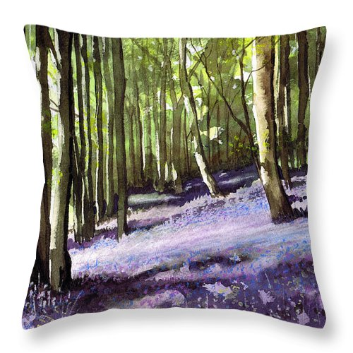 Woodland Throw Pillow featuring the painting Bluebells At Grimescar Wood by Paul Dene Marlor