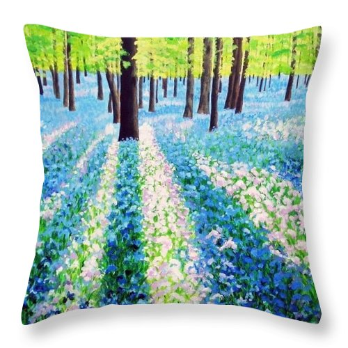 Landscape Throw Pillow featuring the painting Bluebells In The Woodlands by Rick Gallant