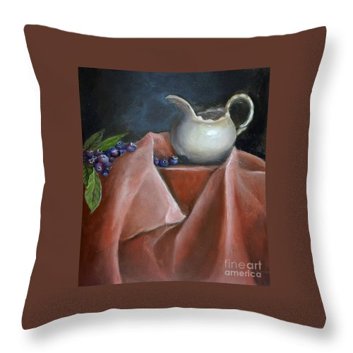 Blueberries Throw Pillow featuring the painting Blueberries And Cream by Portraits By NC