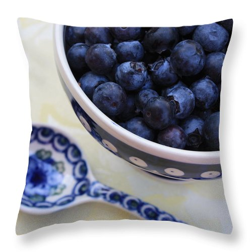 Still Life Of Fruit Throw Pillow featuring the photograph Blueberries And Spoon by Carol Groenen