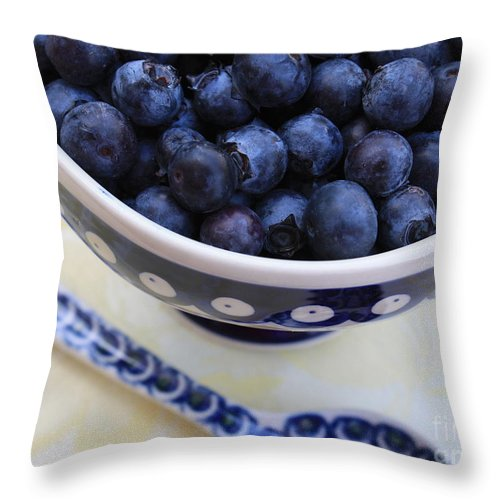 Food Throw Pillow featuring the photograph Blueberries In Polish Pottery Bowl by Carol Groenen