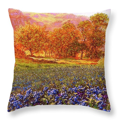 Tree Throw Pillow featuring the painting Blueberry Fields by Jane Small